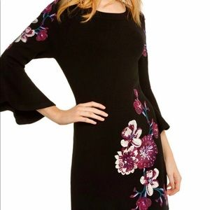 INC Concepts Sweater dress w/ embroidered flowers